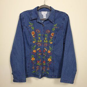 April Cornell Vintage Denim Shirt with Embroidery